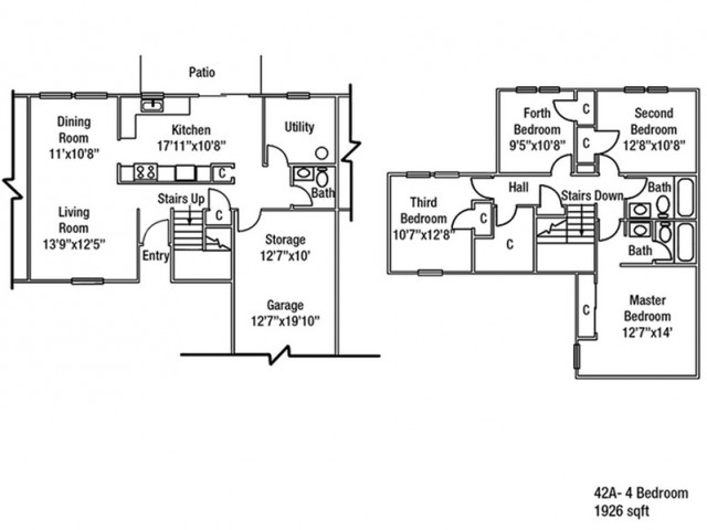 Junior Enlisted 4 BDRM Floor Plan | Fort Drum Housing