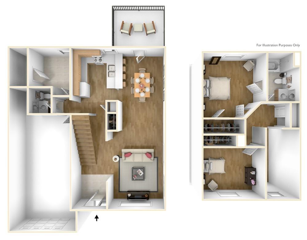 2 Bedroom Floor Plan | MCAS Cherry Point Rentals | Atlantic Marine Corps Communities at Cherry Point