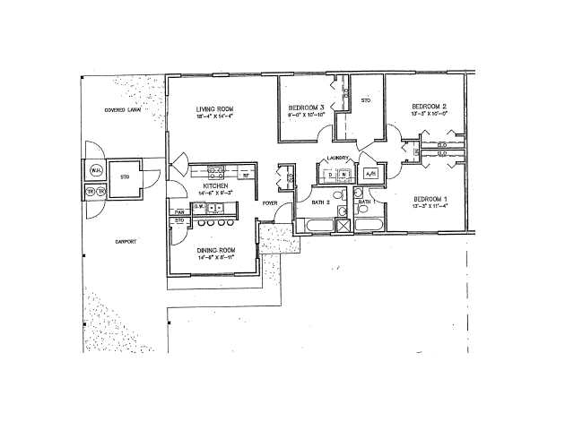 3 Bdrm Duplex Floor Plan | Hickam Communities | Hickam Communities