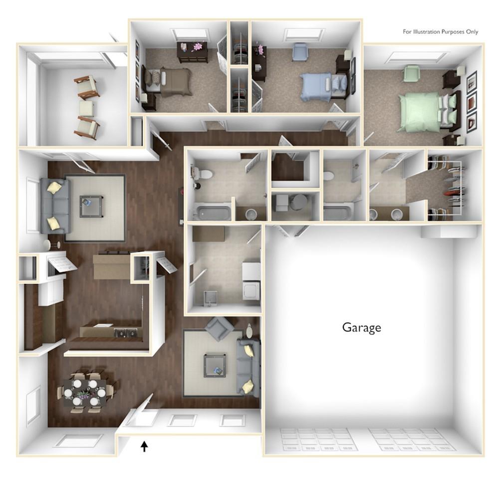 3 Bdrm Floor Plan | camp lejeune housing | Atlantic Marine Corps Communities at Camp Lejeune