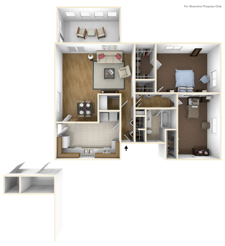2 Bdrm Floor Plan | Laurel Bay Ashepoo Shores | Atlantic Marine Corps Communities at Tricommand