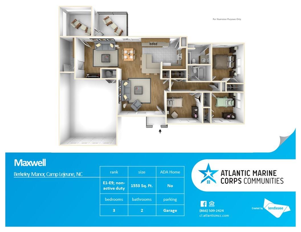 3 Bedroom Floor Plan | Base Housing Camp Lejeune | Atlantic Marine Corps Communities at Camp Lejeune