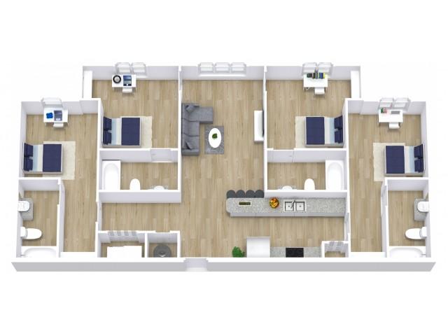 A four bedroom, four bathroom apartment.