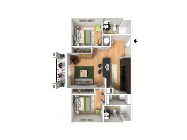 A 3D model of a two bedroom apartment.
