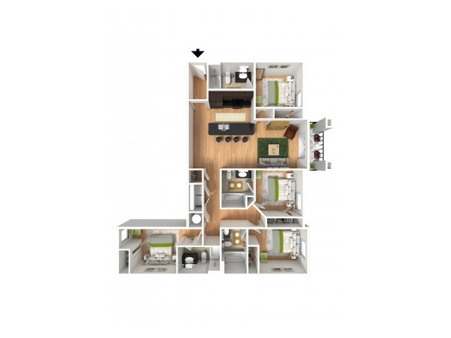 A 3D model of a four bedroom apartment floor plan.