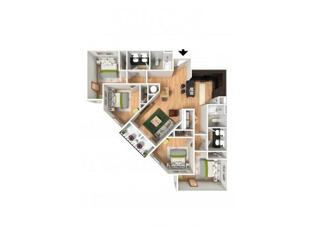 A 3D model of a four bedroom apartment.