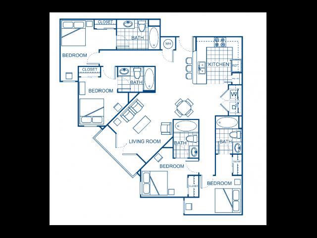 A blueprint of a four bedroom apartment.