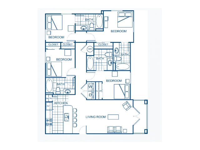 A four bedroom apartment.