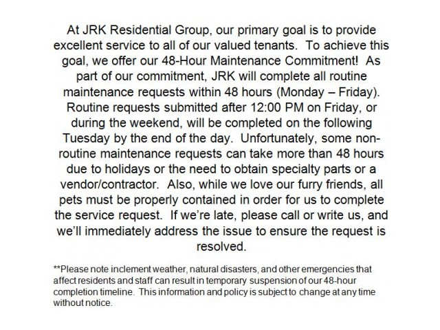 Image of On-call Maintenance & 48-hour Maintenance Commitment for Manchester Lakes Senior Apartment Homes