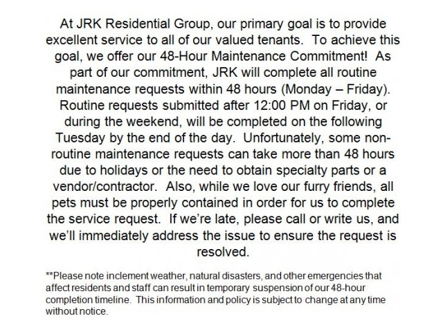 Image of 48-hour Maintenance Commitment for The Summit At Red Rocks