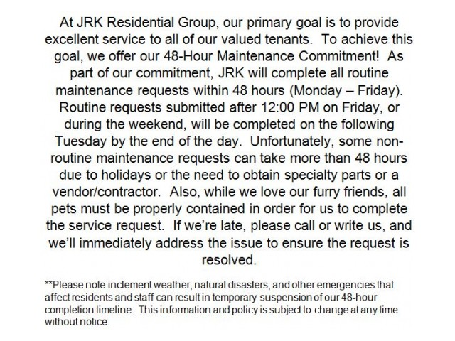 Image of 48-hour Maintenance Commitment for Eagle's Point Apartments at Tampa Palms