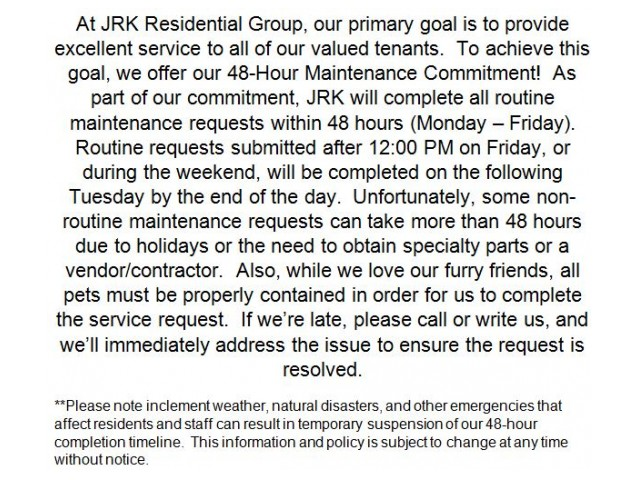 Image of 48-hour Maintenance Commitment for Governor's Park