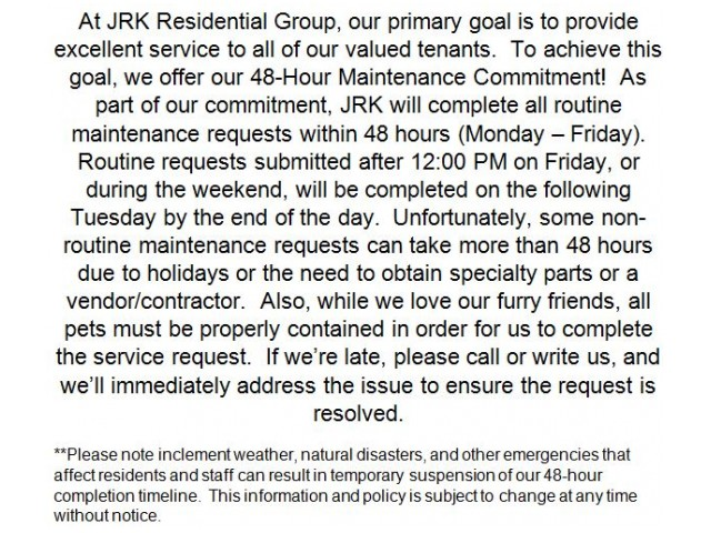 Image of 48-hour Maintenance Commitment for Courtney Park Luxury Apartment Homes