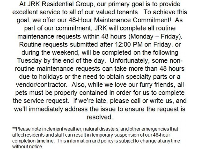 Image of 24-hour Emergency Maintenance & 48-hour Maintenance Commitment for Southpoint Apartment Homes