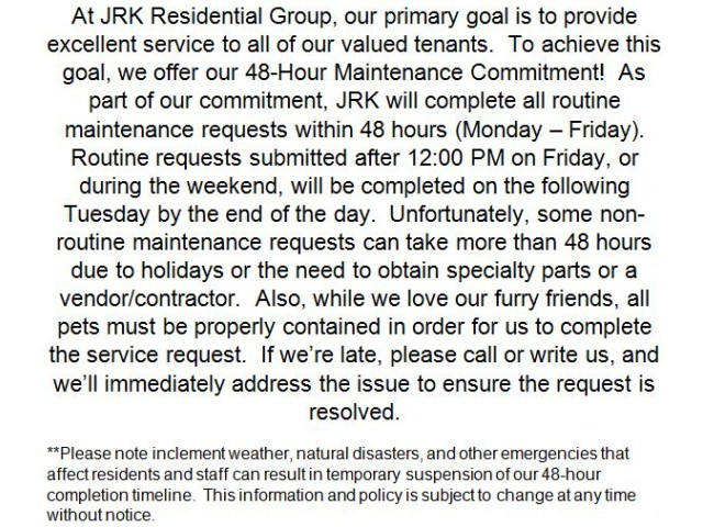 Image of 48-hour Maintenance Commitment for Royal Crest Estates