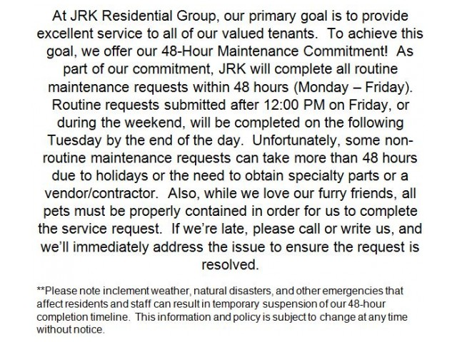 Image of 48-hour Maintenance Commitment for Parkside Glen Apartment Homes