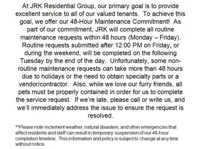 Image of 48-hour Maintenance Commitment for The Park at Steele Creek