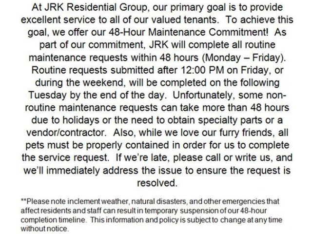 Image of 48-Hour Maintenance Commitment for Arbor Oaks Apartments