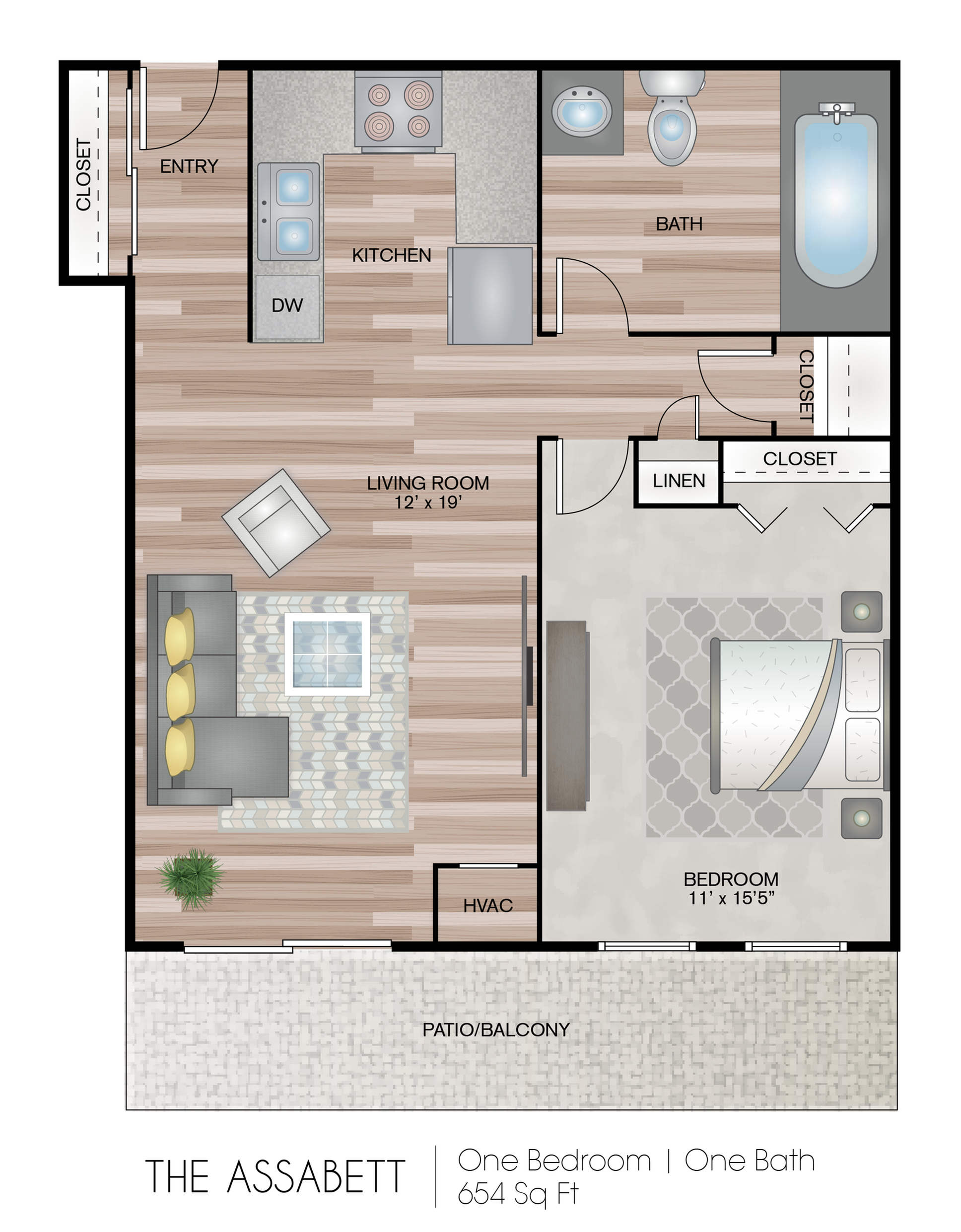 1-Bed, 1- Bath Affordable Unit