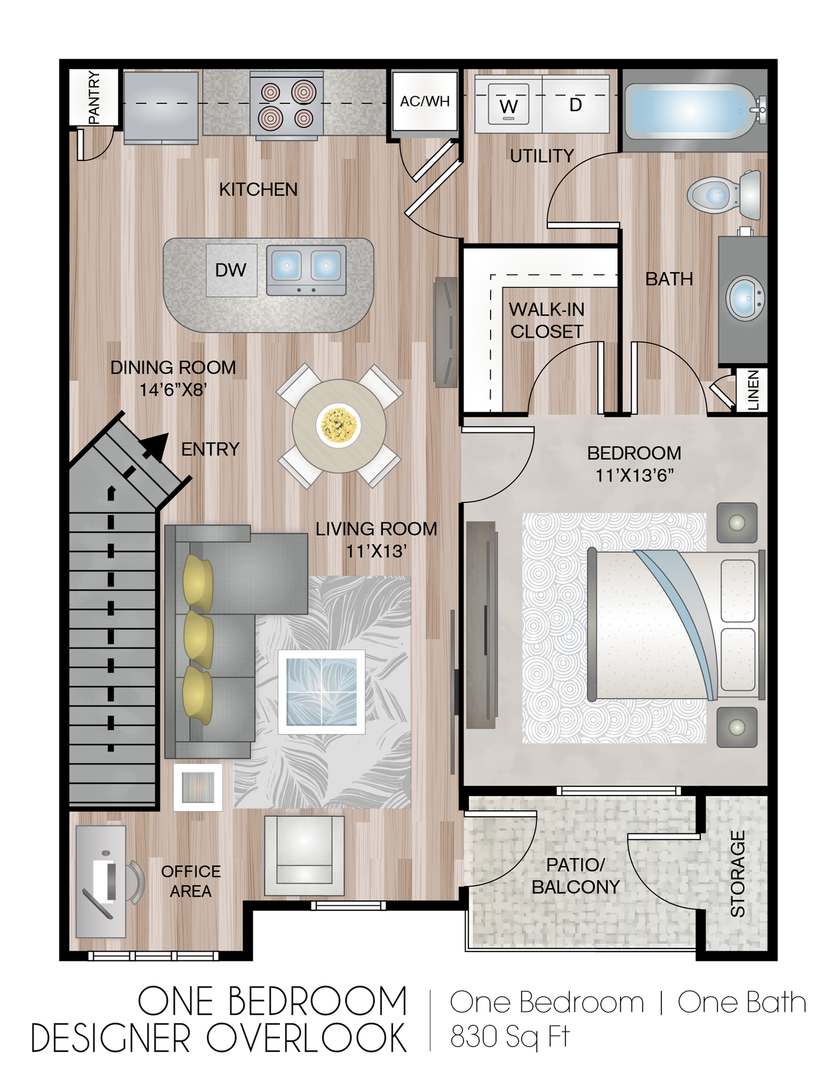 One Bedroom Designer With Garage 1 Bed Apartment The Fountains At Chatham Parkway