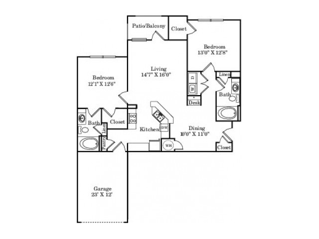 The Yellow Rose with Garage Floor Plan