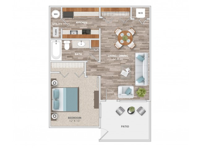 One Bedroom with Patio