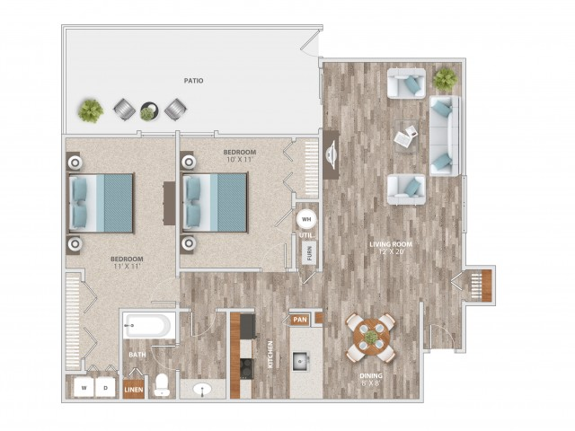 Two Bedroom with Patio