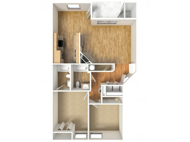 Larch - 2/2 - First, Second, Third Floors - 1,018 SF