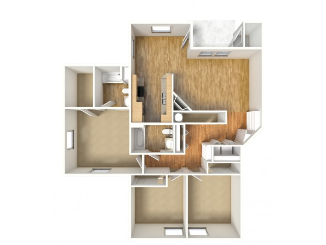 Sequoia - 3/2 - First, Second, Third Floors - 1,306 SF