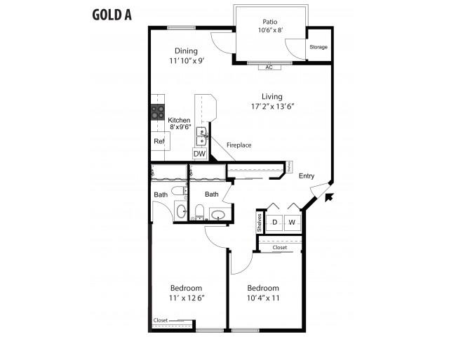 Gold-A - 2/2 - 1,006 SF