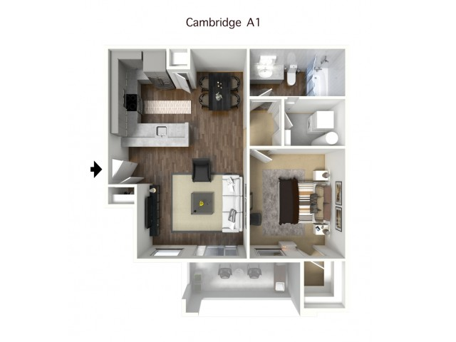 1x1 Cambridge with Furniture