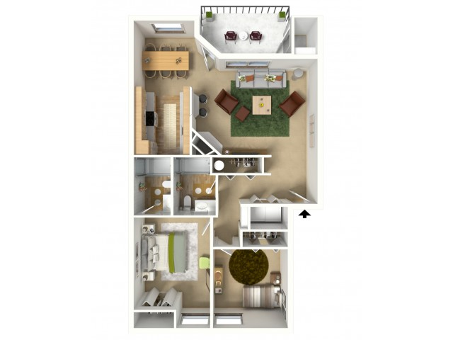 Gold 3D furnished floor plan