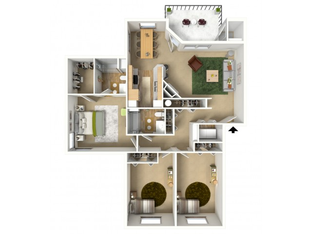 Platinum Plus 3D furnished floor plan