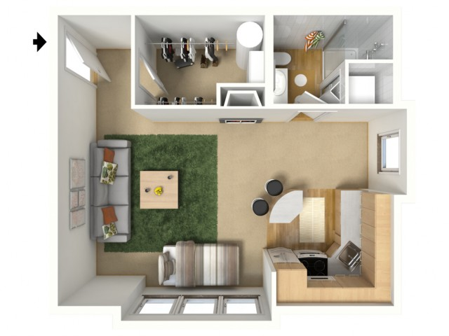 Bronze 3D furnished floor plan