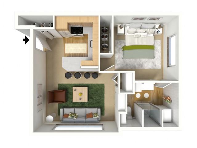 Bronze Plus 3D furnished floor plan