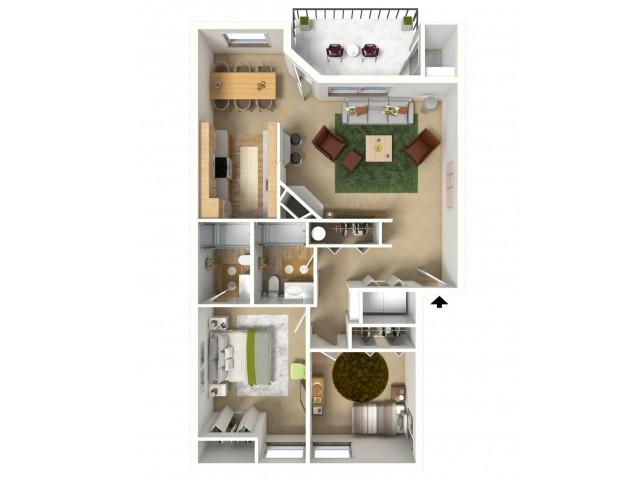 Gold 3D furnished floor plan