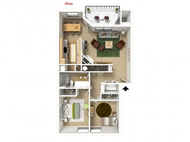 Silver 3D furnished floor plan