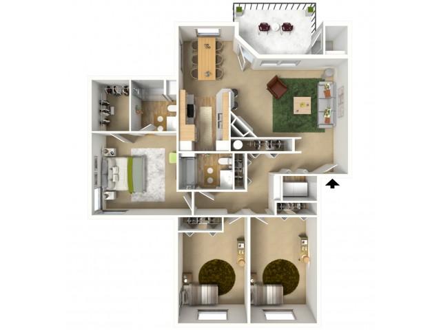 Platinum Plus 3D furnished floor plan