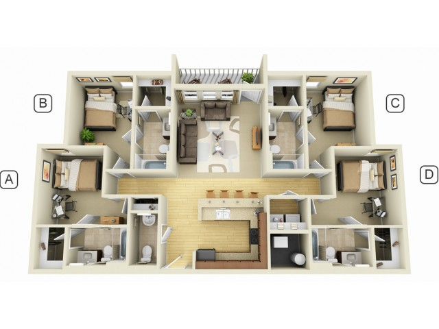 allfloor plans4 bedroom 4 bathroom - 4 Bedroom Apartments