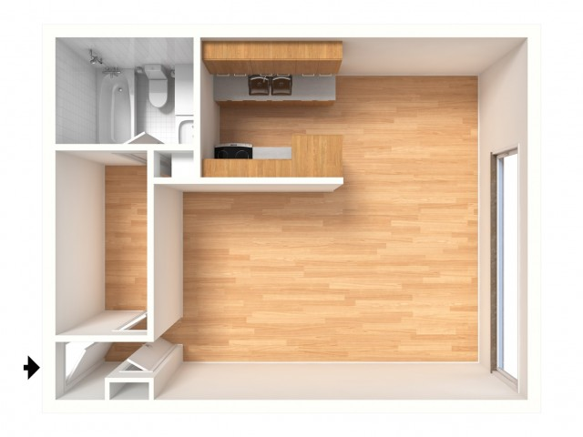 Studio Floor Plan | 2424 Penn 1