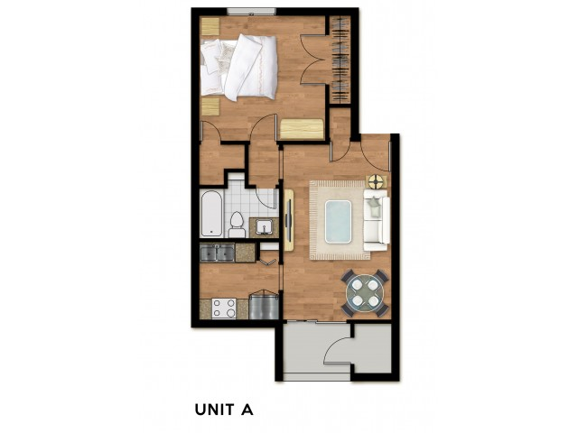 1 Bed 1 Bath Plan A