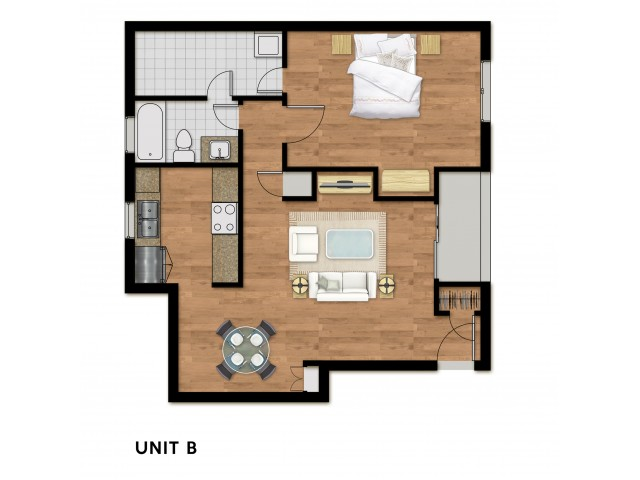 1 Bed 1 Bath Plan B
