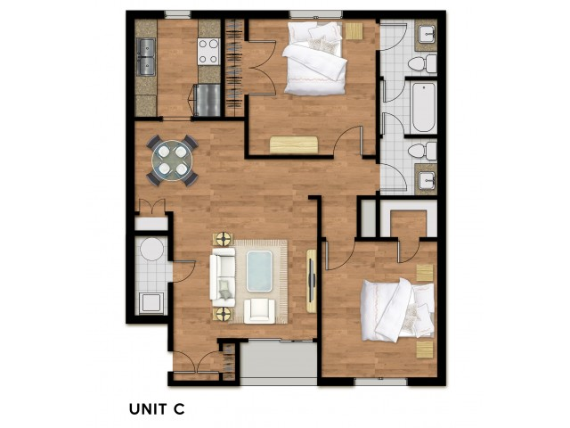 2 Bed 1.5 Bath Plan C