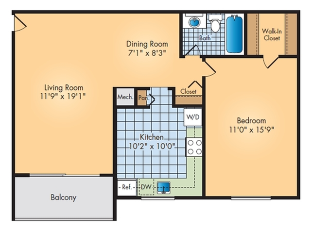 One Bedrooms with Balcony