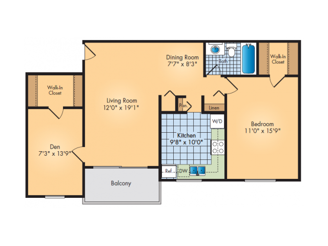 One Bedroom with Den and Balcony