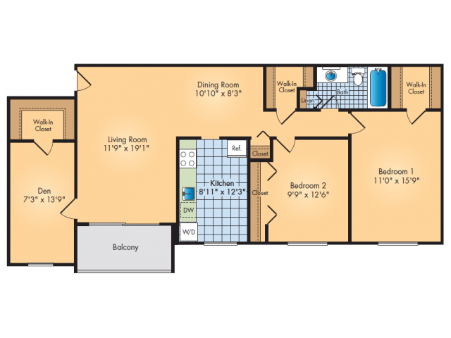Two Bedroom, One Bathroom with Den and Dining Area