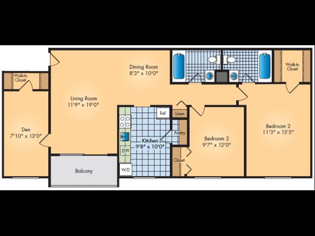 Two Bedroom, Two Bathroom
