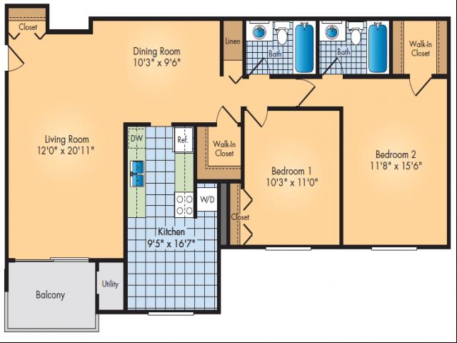 Tow Bedroom, Two Bathroom