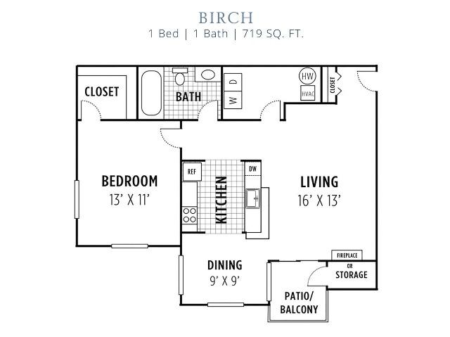 Birch Floorplan 1 BR