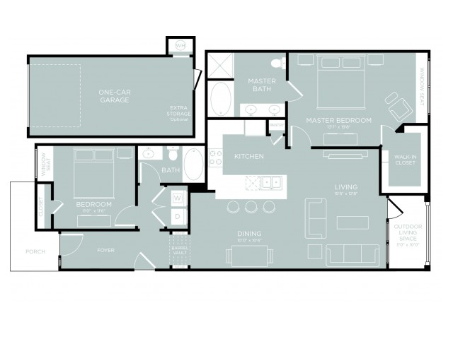 3D Floor Plan 10 | One Bedroom Apartments Austin | The Mansions at Lakeway